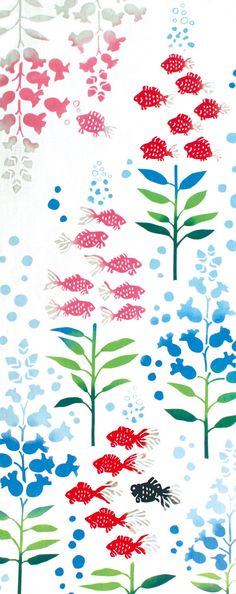 Japanese Tenugui Towel Cotton Fabric, Fish Fabric, Snapdragons, Water Fabric, Hand Dyed Fabric, Floral Art Wall Fabric, Home Decor, JapanLovelyCrafts