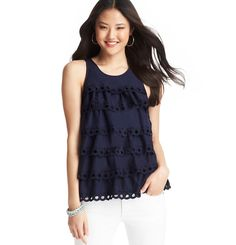 Loft - Petite Tiered Cotton Eyelet Racerback Tank. I want this top. So cute!