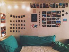 Teenage bedroom ideas. Pictures on the wall. Tumblr inspired bedroom