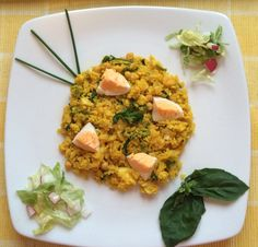 CAMBRIDGE STYLE KEDGEREE 100g Cod (or haddock as is more traditional) 28g canned chickpeas 55g cauliflower grated 10g chopped spring onion 1 Egg (hard boiled) 150ml veg stock Very small amount of Saffron strands 2 tbs of chopped parsley (1/2 tsp) Onion powder Curry powder 10g yogurt (from milk allowance) Cod Season with a small amount of smoked paprika, wrap in silver foil and bake in the oven at 190 for 7-8 mins. Take out of the oven and set aside for later. In another pan boil 1 egg for 8…