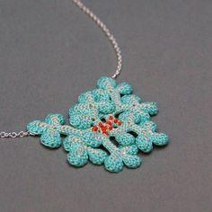 a crocheted lichen pendant? genius! by elin art.