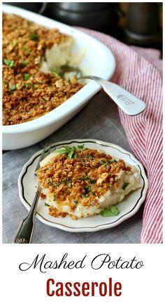 Mashed Potato Casserole with a Cheesy Breadcrumb Topping Recipe Potato Recipes, Veggie Recipes, Great Recipes, Favorite Recipes, Veggie Meals, Amazing Recipes, Recipe Ideas, Mashed Potato Casserole, Mashed Potatoes