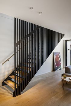 Space-Savvy Single Family Residence Combines Tradition with Modernity Modern Stairs Combines Family Modernity Residence Single SpaceSavvy Tradition Staircase Design Modern, Home Stairs Design, Modern Stairs, Railing Design, Interior Stairs, Residential Architecture, Interior Architecture, Interior Design, House Stairs