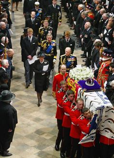 On April 9, 2002 the funeral for Queen Elizabeth, the Queen Mother (who died on March 30th) took place at Westminster Abbey. Behind the casket walked her daughter & son-in-law, HM Queen Elizabeth II & Prince Philip, Duke of Edinburgh; following is her grandson Prince Charles of Wales & her great-grandsons Prince William & Prince Henry of Wales; her grandson Prince Andrew, the Duke of York with her great-granddaughters Princesses Beatrice & Eugenie; her grandson Prince Edward, the Count of…
