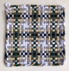 Potholder Set of Two Large 8 x 8 Woven with Potholder Loom, Potholder Patterns, Pin Weaving, Loom Weaving, Loop De Loom, Plastic Canvas Stitches, Crafts For Seniors, Textiles, Weaving Projects