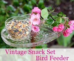 sweet!-----Vintage glass snack set repurposed into a bird feeder