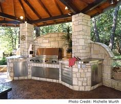 One of the most popular and beautiful trends in summertime is transforming the backyard to include an outdoor kitchen. I've rounded up 9 amazing outdoor kitchens to inspire you. Outdoor Living Furniture, Outdoor Living Areas, Outdoor Rooms, Outdoor Decor, Outdoor Kitchens, Outdoor Projects, Backyard Kitchen, Outdoor Kitchen Design, Backyard Bbq