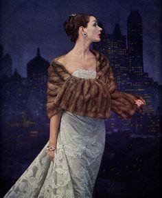 Vogue, 1955. Beautiful coloured fur