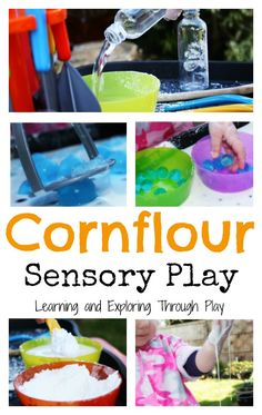 C is for Cornflour Tuff Spot Learning and Exploring Through Play: Cornflour Sensory Play Cornflour Activities, Eyfs Activities, Nursery Activities, Infant Activities, Activities For Kids, Indoor Activities, Tuff Spot, Baby Sensory, Sensory Play