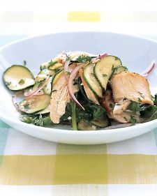 Zucchini and Chicken Salad (everyday food GFF) Uses, lemon juice, zucchini, chicken, spinach, red onion, pecans, Parmesan, and mint.