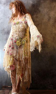 Vintage Bohemian Gypsy Hippie Crochet Lace Mermaid by MajikHorse