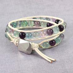 Leather Wrap Bracelet White Fluorite Gemstone Fall Bohemian Bracelet Double Wrap Purple Green Blue Lavender Southwest Bracelet