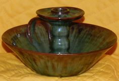 """Large Peasant Art Industry Czechoslovakia Candle Holder Pottery 4"""" tall, 8"""" Dia. $25.00 OBO + $9.25 Shipping"""