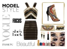 """""""No words"""" by msbfb ❤ liked on Polyvore featuring Balmain, GUESS, Lana, MAC Cosmetics and Essie"""