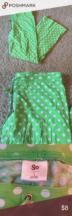 Polka dot pajama pants Green pajama pants with white polka dots. In great condition, they just don't fit me SO Intimates & Sleepwear Pajamas