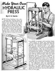 Hydraulic die forming with plans for a DIY Hydraulic press (Page:1)