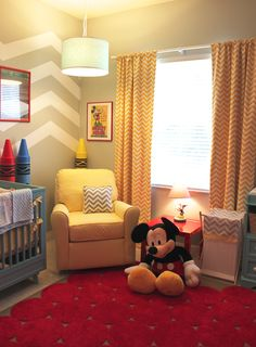 Colorful boy's nursery with lots of #chevron and an ode to Disney!