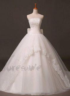エレガントストラップレスレースアップリケAラインアイボリーのウェディングドレス 11249916 - ストラップレスウェディングドレス - Doresuwe.Com