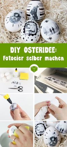 Fotoeier - außergewöhnliche Ostereier selber gestalten It's so easy to make this great Easter idea - photo eggs. With just a few tools, the photo transporter succeeds on Easter eggs. Summer Crafts For Kids, Summer Diy, Easter Presents, Make Your Own, Make It Yourself, Egg Designs, Xmas Gifts, Easter Crafts, Happy Easter