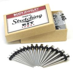 Stainless Steel Ear Stretching Kit. This would have been handy instead of buying individual taper pairs :/