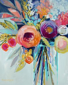 Still life painting by Erin Fitzhugh Gregory. Motif Floral, Arte Floral, Abstract Flowers, Vase Of Flowers Painting, Paintings Of Flowers, Acrylic Art, Painting Inspiration, Diy Art, Flower Art