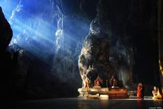 Awesome buddhist temples in the caves