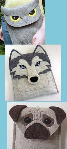 чехол для планшета своими руками из войлока..., Dog Crafts, Yarn Crafts, Felt Crafts, Fabric Crafts, Sewing Crafts, Sewing Projects, Purse Patterns, Sewing Patterns, Felt Toys