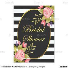 e47f9677c4a1 Floral Black White Stripes Gold Foil Bridal Shower Invitation