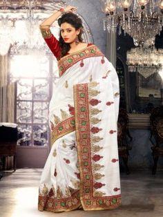 White Bhagalpuri Silk Saree With Zari Work www.saree.com