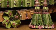 Tassels! Breathing Life and Color Into Your Home! -  Re-pinned by www.gilroyinteriors.com Yarn Crafts, Diy And Crafts, Drapes Curtains, Drapery, Samuel And Sons, Passementerie, Colour Schemes, Rosettes, Pink And Green