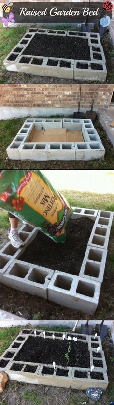 may need to DIY one of these next gardening season! All the openings would be perfect for flowers or herbs   cinder block raised garden bed