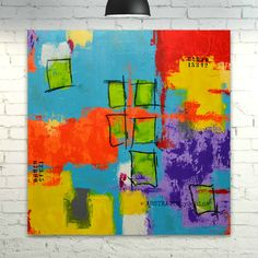 """TITLE: """"A BRIGHTER DAY"""" MEDIUM: ACR/MIX ON CANVAS DIMENSIONS: 80x80x4cm (31.5x31.5x1.5"""")"""