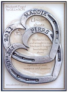 iron anniversary gift Blacksmith Forged Entwined Horseshoes Personalised with both date and names in a presentation gift box  sc 1 st  Pinterest & 22 Best Steel Anniversary Gifts images | Steel anniversary gifts ...