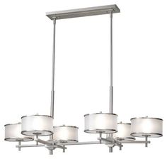 Feiss F23456BS Casual Luxury 6-Lamp Island Chandelier in Brushed Steel - MF-F23456BS