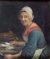 André Bouys - Une cuisinière préparant des légumes