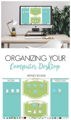 Check out these computer desktop organization tips and tricks {and download your FREE desktop organizer wallpaper!} | #computerorganization #computerdesktopwallpaper #desktopwallpaper #computerorganizing
