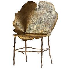 """Limited Edition Bronze and Acid Etched Brass """"Flor"""" Side Chair by Sharon Sides"""