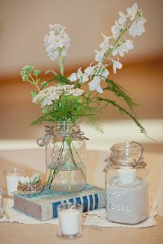 More Antique Mason Jars Used As Centerpieces Some Are Filled With