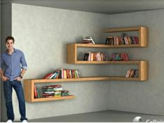 DIY Floating Shelves, bookshelf, and Wall Shelves Easy, Simple Corner Shelves, Wall Shelves, Diy Furniture, Furniture Design, Simple Furniture, Shelf Design, Home Projects, Sweet Home, Room Decor
