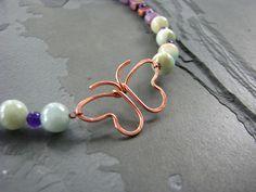 wire butterfly pendants beaded