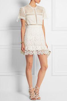 Self-Portrait|Guipure lace mini skirt|NET-A-PORTER.COM