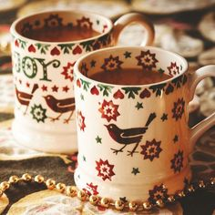 Joy Robin 0.5 Pint Mugs - Set of 2 x 0.5 Pint Mugs (Christmas 2015) Discontinued