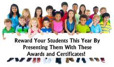 This website and page contains award certificates for achievement, attendance, improvement, reading, writing, math, social studies, science, art, music, and P.E.  http://www.uniqueteachingresources.com/awards-and-certificates.html