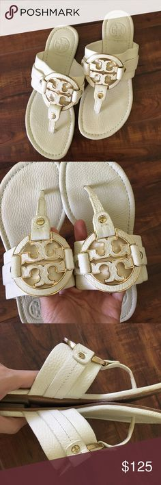 Tory Burch White Leather Sandal Used in great condition! Super elegant and comfy sandal is perfect for summer! ❌No trade Tory Burch Shoes Sandals