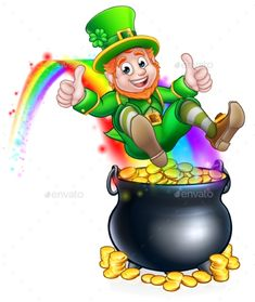 Buy St Patricks Day Leprechaun Pot of Gold Rainbow by Krisdog on GraphicRiver. A cute St Patricks day leprechaun cartoon character sliding on rainbow into a pot of gold and giving a thumbs up St Patricks Day Clipart, Pot Of Gold, Luck Of The Irish, Over The Rainbow, Leprechaun, Royalty Free Images, Free Design, Saints, Clip Art