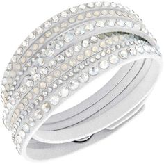 Swarovski Crystal Slake Clear White Bracelet ❤ liked on Polyvore featuring jewelry, bracelets, swarovski crystal jewelry, swarovski crystal jewellery, swarovski crystals jewelry, white jewelry and white bangle
