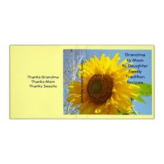 Grandma to Mom to Daughter Family Traditions Recipes binders SOLD Bright Sunflower Blue Sky Holiday gifts personalized custom recipe binders.