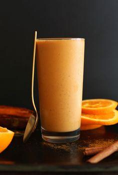 Sweet Potato Spice Smoothie with lycopene, beta carotene, vitamin C, fiber and protein! Creamy, rich, sweet, DELICIOUS #vegan #healthy