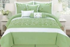 """7 Piece King Bailey Floral Embroidered Bedding Comforter Set by KingLinen. $79.99. This lovely bedding set features floral embroidery on sage ground. 3 unique decorative pillows furtherenhance the look .FeaturesColor: SageSize: KingMachine Washable Matching curtains availableThis set includes:1 Comforter (104""""x92"""")2 Shams (20""""x36""""+3"""")1 Bed Ruffle (78""""x80""""+15"""")1 Neckroll (7""""x17"""")1 Breakfast Cushion(16""""x12"""")1 Square Cushion(17""""x17""""). Save 68% Off!"""