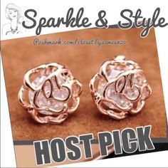 🌟WORK WEEK CHIC PARTY Pictures don't do these earrings justice!! Beautiful 18K rose gold plated, cubic zirconia earrings.🌟NEW🌟 Jewelry Earrings